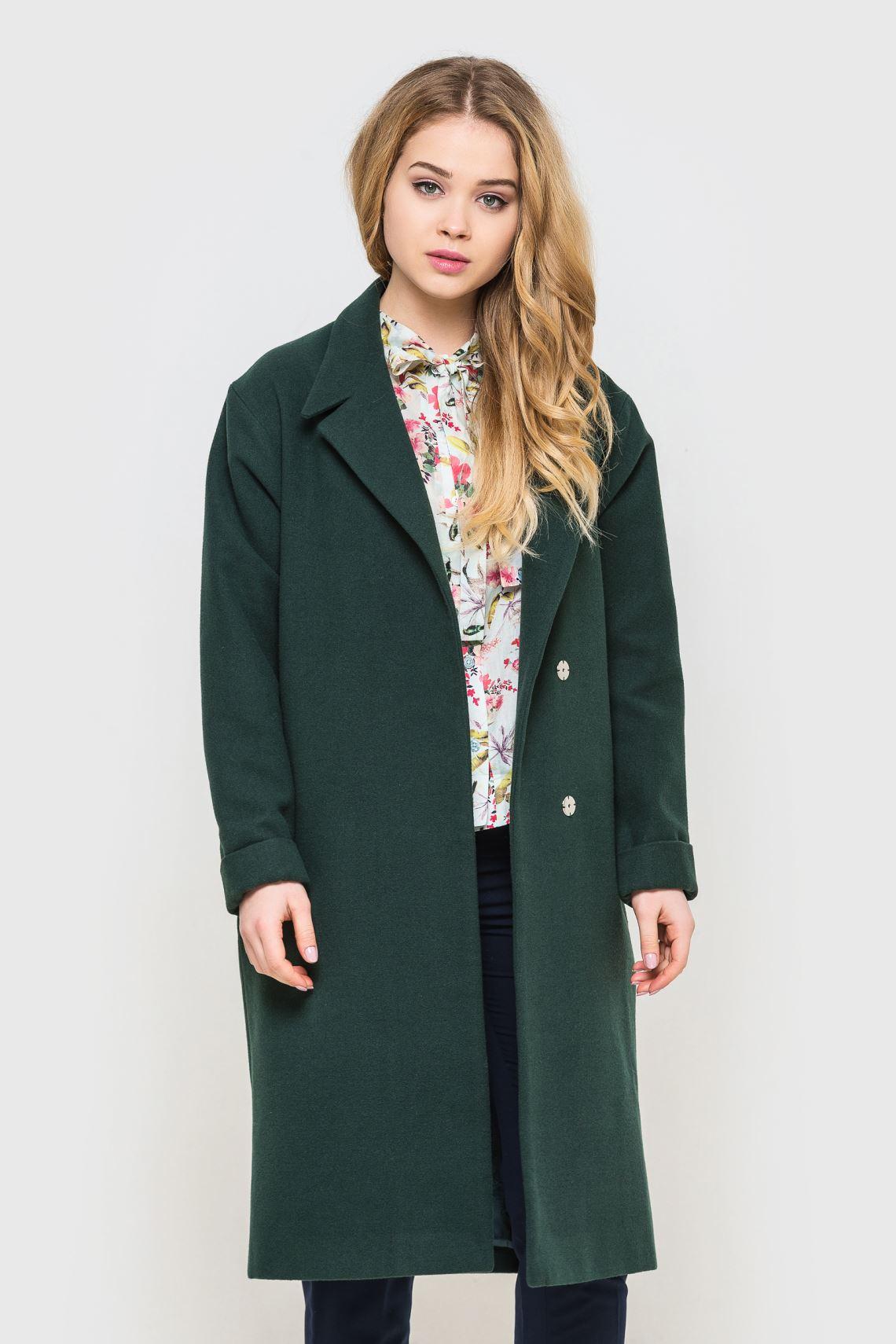 Пальто жіноче зелене зі спущеним рукавом  f84934d2e1870