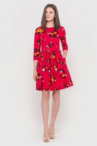 Сукня рожева у квіти з італійського котону 76d759d017b84