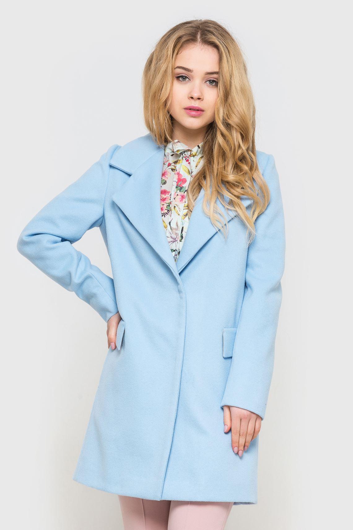 Пальто жіноче блакитне коротке  27a983d03886b
