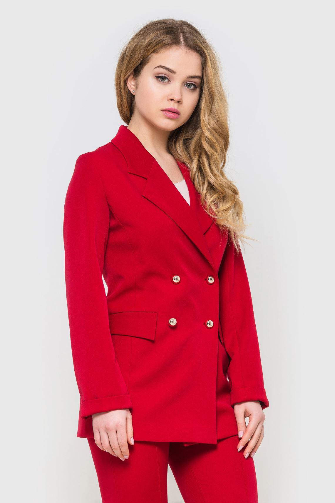 Жакет жіночий (піджак) червоний із золотими гудзиками  785509f0a5901