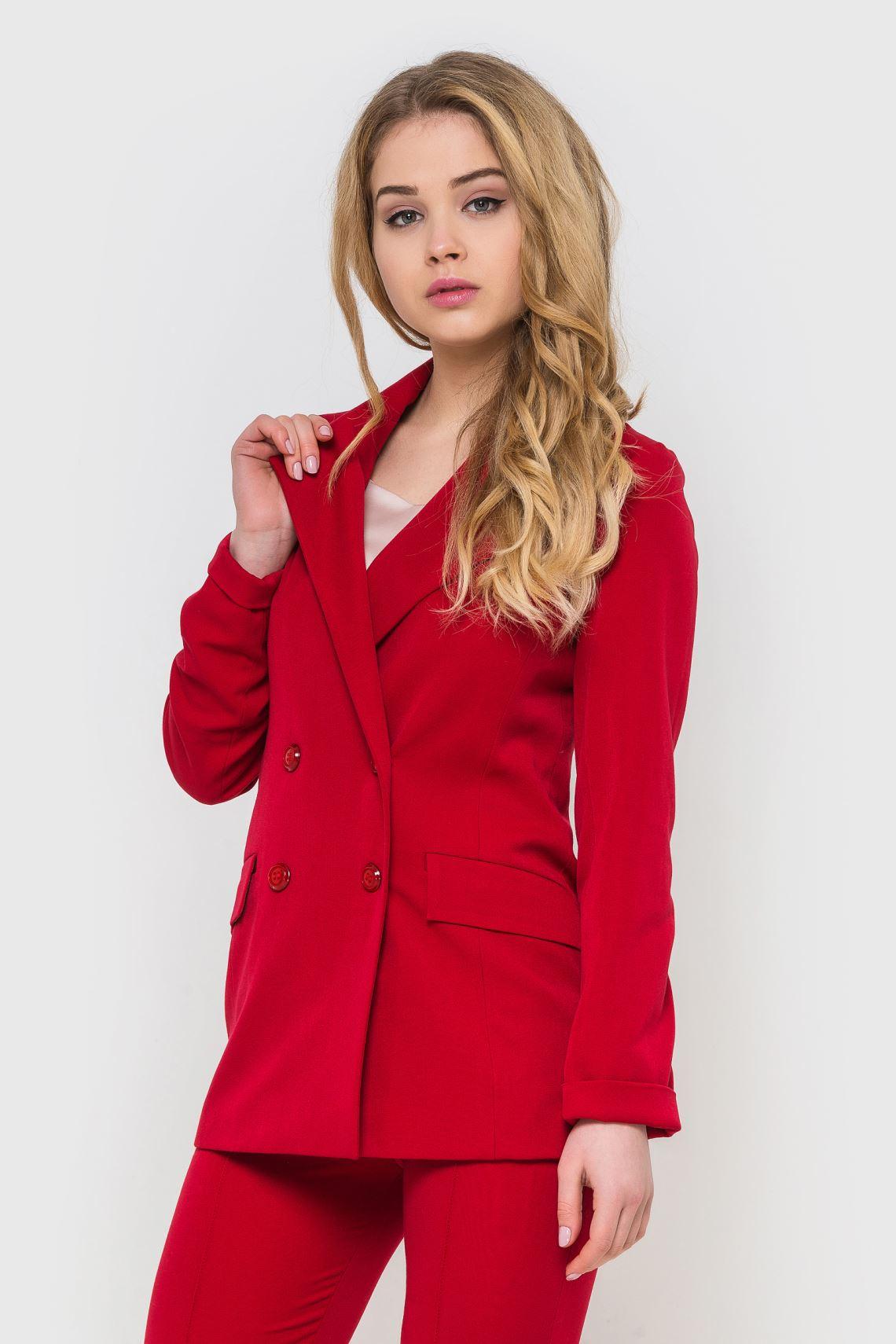 Жакет жіночий (піджак) червоний із червоними гудзиками  8d9ce66bb2796