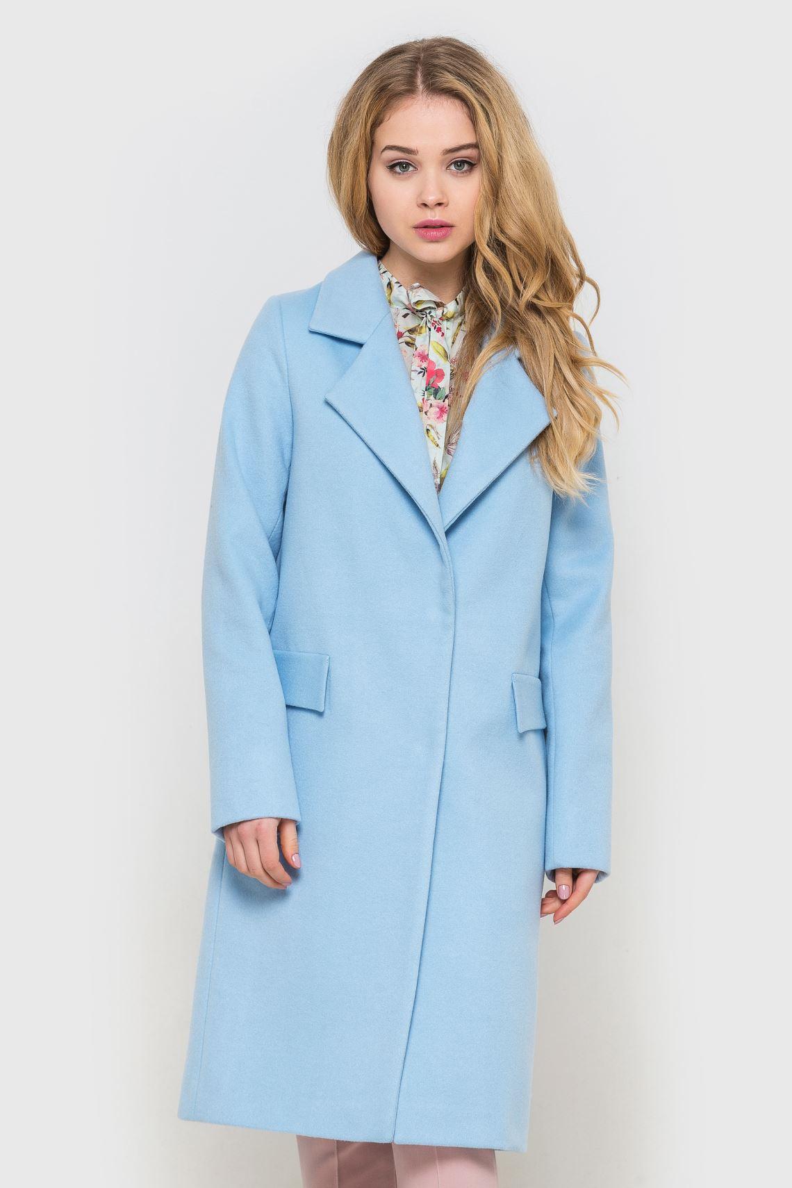 Пальто жіноче блакитне подовжене  85d2e1405b09b